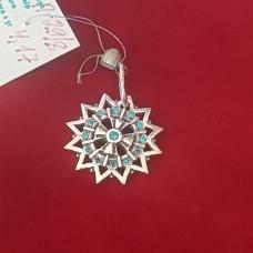 Звезда Эрцгаммы с голубыми камнями /серебро 925пр