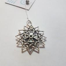 Звезда Эрцгаммы двухсторонняя с ониксами/серебро 925пр