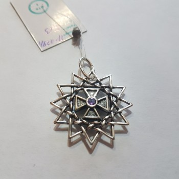 Звезда Эрцгаммы двухсторонняя с аметистами/серебро 925пр