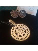 Набор серьги и кулон Алатырь/серебро 925