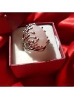 "Кольцо с розовым кварцем ""Асканели"" /серебро 925 пр"