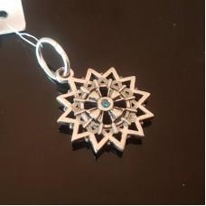 Звезда Эрцгаммы двухсторонняя в фианитах /серебро 925пр