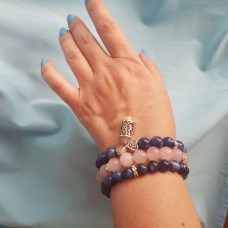 Комплект браслетов из содалита и розового кварца/руна на выбор