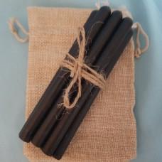 Свечи черные из натурального воска на 60 минут