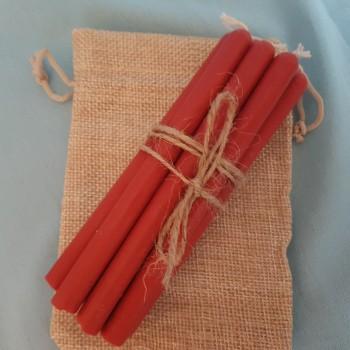 Свечи красные из натурального воска на 60 минут горения