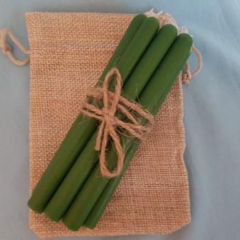 Свечи зеленые из натурального воска (10шт)