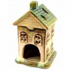 Аромалампа керамическая Домик зелёная крыша