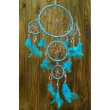 Ловец снов большой голубой с голубыми перьями