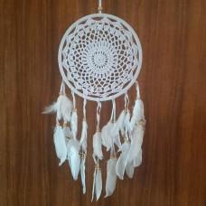 Ловец снов паутинка макраме белый/диаметр круга 22 см