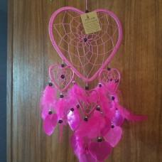 Ловец снов сердце с ракушками/розовый