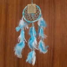 Ловец снов малый с перышками/голубая льдинка