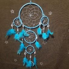 Ловец снов 5 колец голубой с голубыми перьями