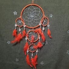 Ловец снов большой с красными перьями