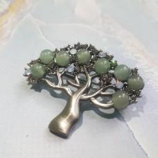 Брошь-кулон Дерево Счастья с Нефритом