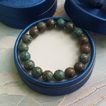 Браслет из камня Голубая  Яшма (бусины 10 мм)